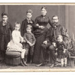 Old family photo. parents with five children — Stock Photo #18304115
