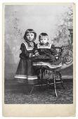Vintage nostalgic portrait of two kids — Stock Photo