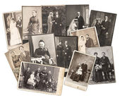 Vintage family and wedding photos — Stock Photo