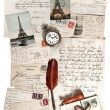 Old letters, accessories and post cards - Stock Photo