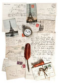 Old letters, accessories and post cards — Stock Photo