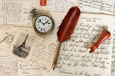 Old letters, french post cards, antique feather pen — Stock Photo