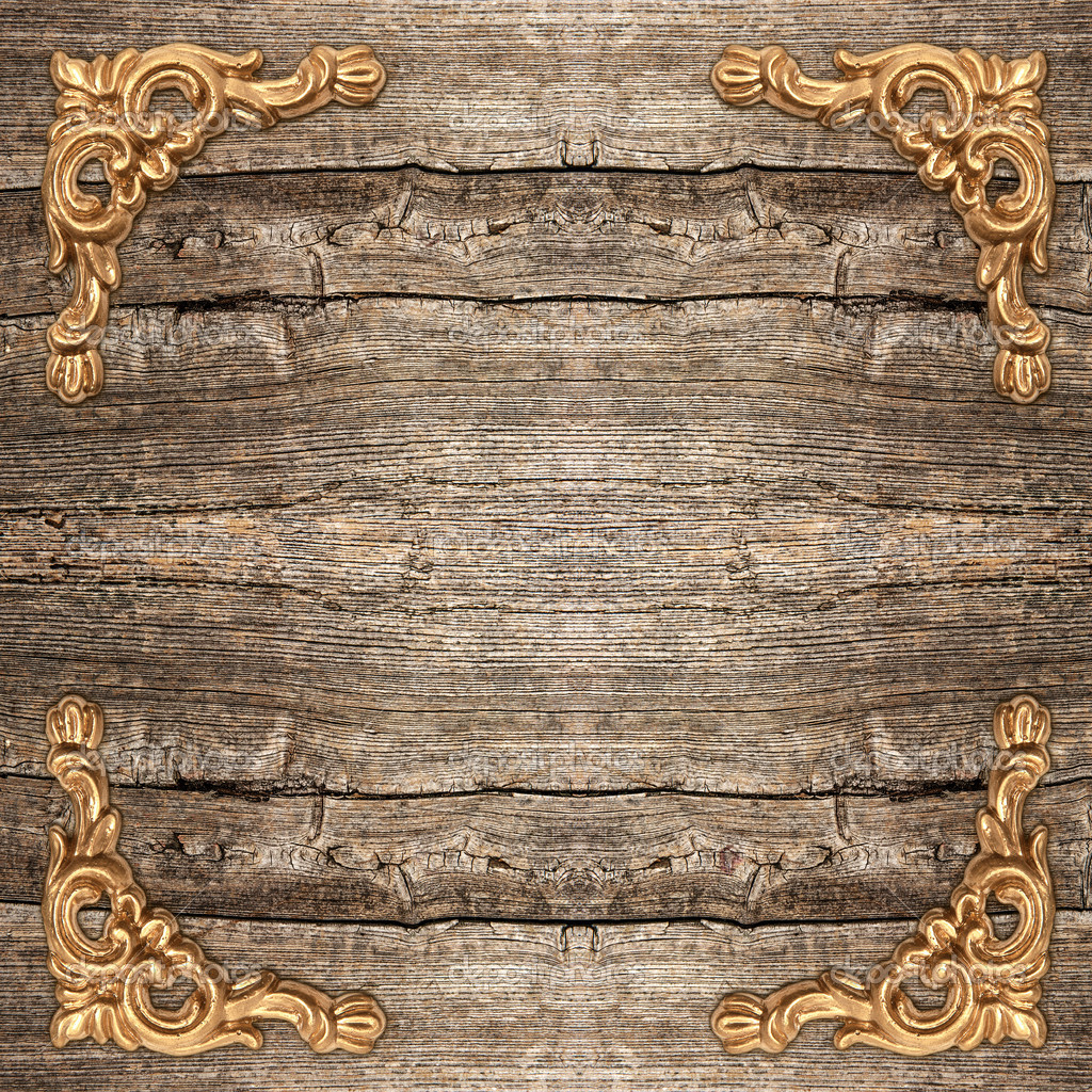 Rustic Wooden Background With Golden Corner Stock Photo