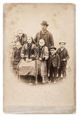 Old family photo. parents with five children — Stock Photo