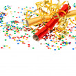 Royalty-Free Stock Photo: Golden streamer, party cracker and confetti