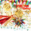 Holidays background with garlands, confetti and champagne — Stock Photo