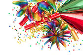 Party decoration with garlands, streamer, cracker confetti — Stock Photo