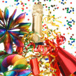 Colorful party decoration with garlands and confetti - Stock Photo