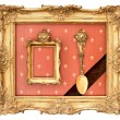 Stock Photo: Old golden frame. vintage background
