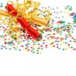 Colorful confetti, golden streamer and party cracker — Stock Photo
