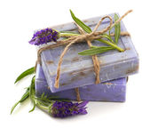 Lavender soap bars with fresh blossoms — Stock Photo
