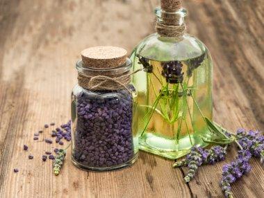 Essential lavender oil, herbal soap and bath salt