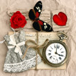 vecchie cartoline di amore e di fiore rosa rossa — Foto Stock