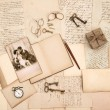 Old letters, vintage accessories, diary and photo — Stock Photo