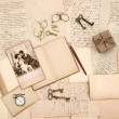 Old letters, vintage accessories, diary and photo - Stock Photo