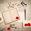 Стоковое фото: Open book, antique accessories, old love letters