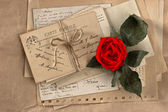 Dry red rose and old love letters — Stock Photo