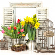 Interior easter decoration with flowers and eggs — Stock Photo #21838759