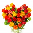 Heart shaped bouquet of colorful assorted roses — Stock Photo