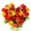 Heart shaped bouquet of colorful assorted roses — Stock Photo #21833861