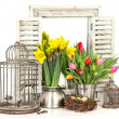 Home interior with fresh spring flowers and easter eggs — Stock Photo