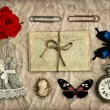 Stock Photo: Nostalgic romantic grungy background scrapbooking