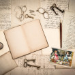 Stock Photo: Open book, antique accessories and vintage easter card
