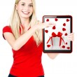 Stock Photo: Young happy womwith tablet PC gift card