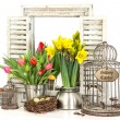 Interior easter decoration with flowers and eggs — Stock Photo
