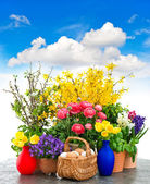 Colorful spring flowers and easter eggs decoration — Stock Photo