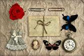 Nostaljik romantik grungy arka plan scrapbooking — Stok fotoğraf
