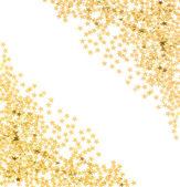 Star formade gyllene konfetti på vit — Stockfoto
