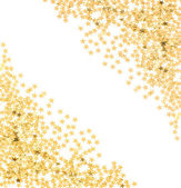 Star shaped golden confetti on white — Stok fotoğraf