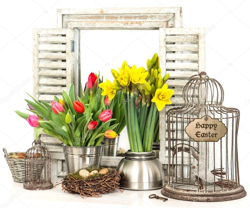 Interieur decoratie van pasen met bloemen en eieren stockfoto 21838759 - Foto van decoratie interieur ...