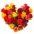 Bouquet of colorful assorted roses in heart shape — Stock Photo #21840315