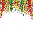 Colorful garlands and confetti on white  background — Stock Photo