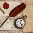 Old letter with wax seal. vintage background — Stock Photo