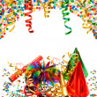 Party decoration with garlands, streamer and confetti — Stock Photo