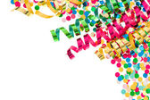 Colorful confetti with multicolored streamer — Stok fotoğraf