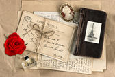 Red rose, old french letters and post cards — Stock Photo