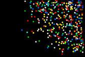 Fundo de confetes coloridos em preto — Foto Stock