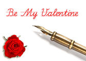 Red rose and vintage ink pen isolated on white — Stock Photo
