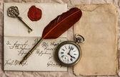 Vecchia lettera con sigillo di cera. sfondo vintage — Foto Stock