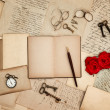 Antique accessories, old letters, watch, red rose - Stock Photo