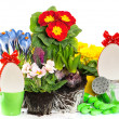 Stock Photo: Spring easter flowers composition on white