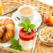 ������, ������: Breakfast with coffee croissants and orange juice