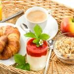 Постер, плакат: Breakfast with coffee croissants and orange juice
