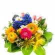 Bouquet of colorful spring flowers isolated on white — Stock Photo
