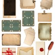 Set of various old paper sheets - Stok fotoğraf