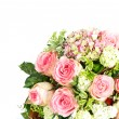 Bouquet of pink roses over white background — Stock Photo